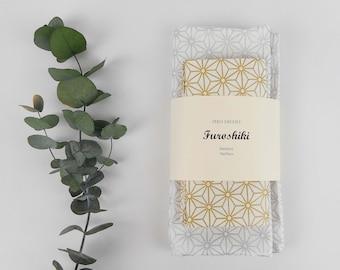 2 Furoshiki, gift wrapping fabric, stars asanoha, gold, silver, sustainable, eco-friendly, birthday, Christmas, zero waste