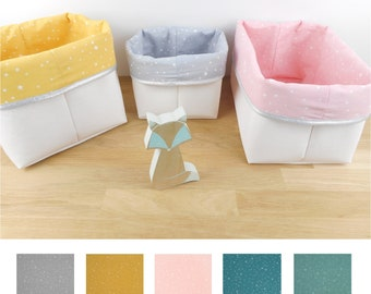 Basket 5 colors, 4 sizes, white imitation, white star fabric, duck, pink, yellow, blue or gray, silver or gold edge, children's room