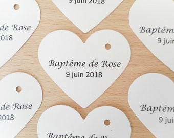 Lot 20 Heart, Wedding and Baptism labels, black text, customizable paper label, custom label, 7 colours