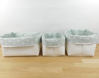 Lot 3 storage baskets, small medium rectangle, imitation white green fabric or pink stars asanoha glitter edge of choice, panière, pochon
