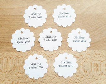 Lot 20 labels to customize, round scalloped paper label customized, black text, wedding, christening, communion, many colors