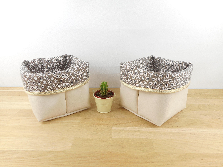 Planter Un Lilas En Pot storage basket small size faux leather fabric, ecru taupe star asanoha,  gold edge, basket, planter, empty pocket, basket, pouch