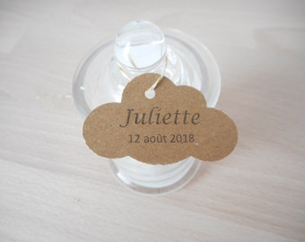 Lot 20 Kraft labels, cloud shape, custom, black text, customizable paper label, Wedding, Baptism, communion, babyshower