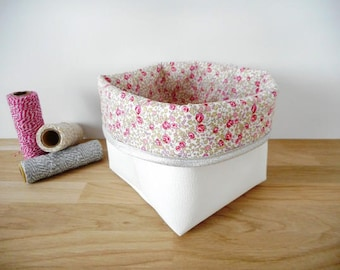 Small model storage basket, white leather imitation and pink Liberty Eloïse fabric, silver edge, pooch, organizer, empty pocket, pouch, baby