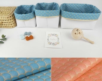 Lot 3 storage baskets, small medium rectangle, white imitation, organic orange or blue fan fabric, golden edge, pooch, bedroom, baby