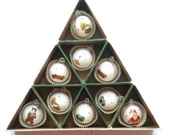 9 Christmas baubles in box for Christmas tree, Christmas decoration