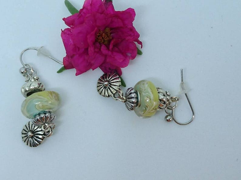 Pearl Earrings My basket of flowers Murano flowers and silver tone Tibetan style findings charms.