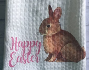 Easter bunny tea towel- happy easter tea towel- Easter decor- Easter decoration- Easter tea towel- tea towel- dish cloth- bunny