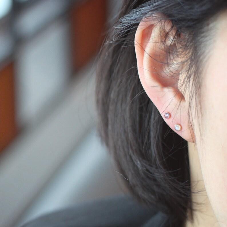 18K solid rose gold moonstone piercingmoonstone earringcatseye moonstone piercinglayering piercinggemstone earringpiercing gift