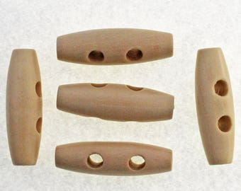 Brown Wooden Toggle Buttons 35mm with Two holes  x 10