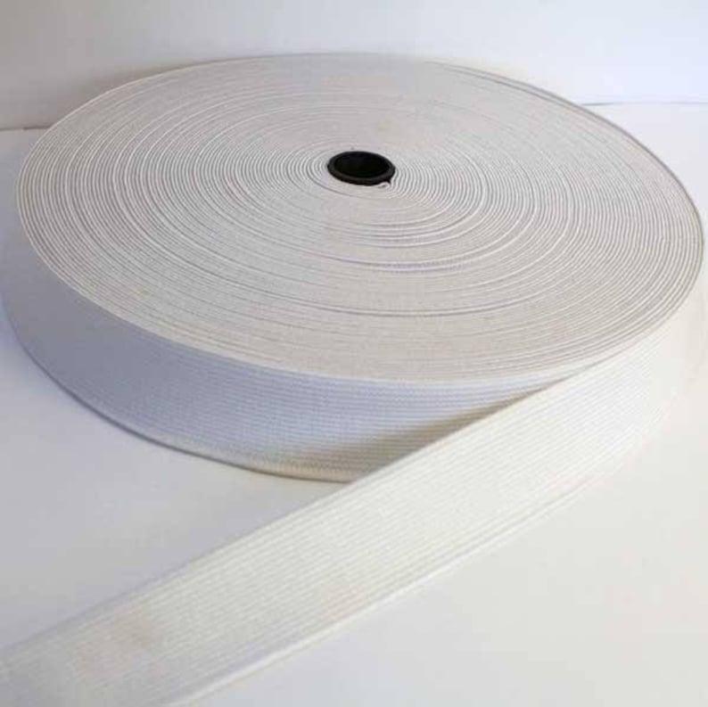 x 4 Meter or x 10 Meters  Elastic Belt Flexible Couture Mercerie Elastic Plat Couture 25mm White Sold x 2 Meters