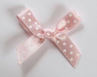 10 x 7mm Satin ribbon bow: Rose Clair - 001070