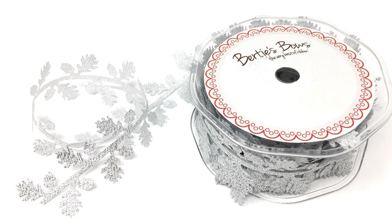 foil stripe Ribbon sold by the meter Album and Scrapbooking sewing notions decor Christmas silver