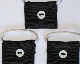 5 x mini purse applique black - 000786