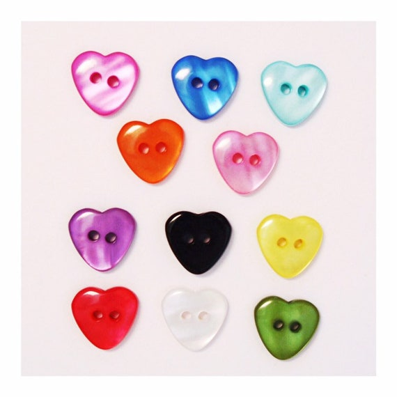 15mm Red Glitter Heart Buttons 2 Hole in Pack Sizes of 2 5 or 10
