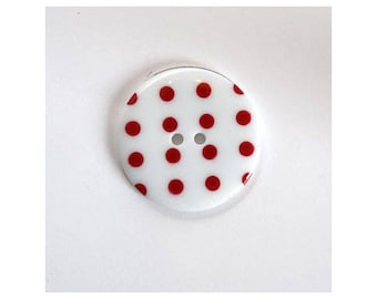 Big buttons 34mm white red - 001130 polka dots