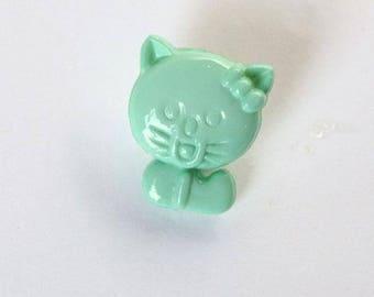 Set of 6 x 14mm light green cat buttons - 001385
