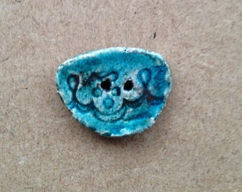 Button raku ceramic - turquoise - 2 holes for textile or any other item (13)