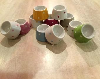 Coquetiers en porcelaine décor peint à la main