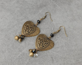 Earrings Bronze fashion hearts faceted black and transparent beads - handmade jewelry