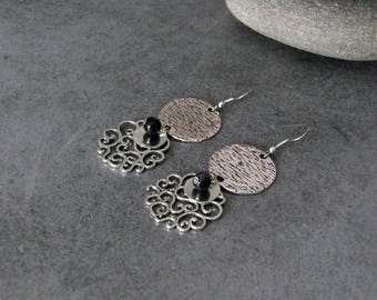 Dangle earrings silver Style Bohemian Chic connectors round Graves in Sunstone blue night flowers charms