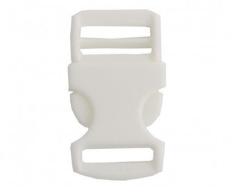 20 mm white banana buckle, sold by 2