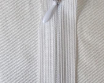 White 22 cm Invisible zipper