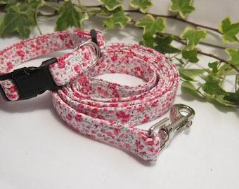 Liberty Phoebe fabric dog leash and collar