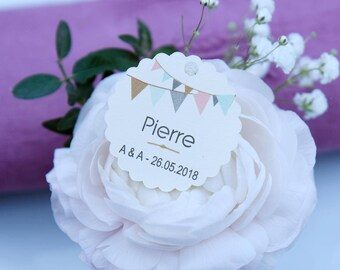 Place cards wedding christening - model - guest - flag paper white, ivory or kraft set of units 10/30/50/80/100/125/150