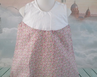 Cotton floral print trapeze dress pink and embroidered cotton - size 12 months