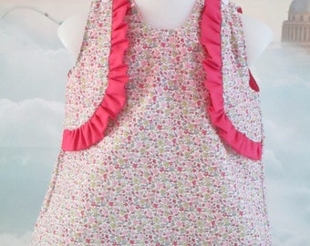 Cotton floral print trapeze dress pink and small ruffles - size 3 months