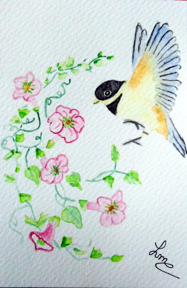 original watercolor painting Postcard chickadee in flight card