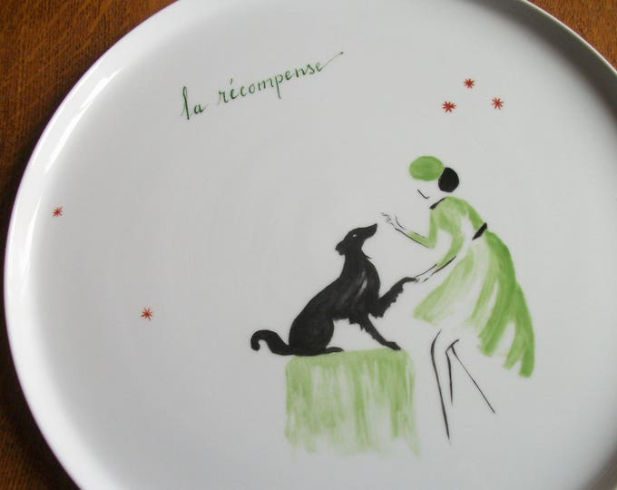 tray / Bowl / tart / handpainted porcelain / theme / reward / dog