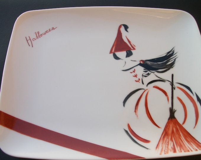 plate /rectangulaire / handpainted porcelain / theme / halloween craft creation / design