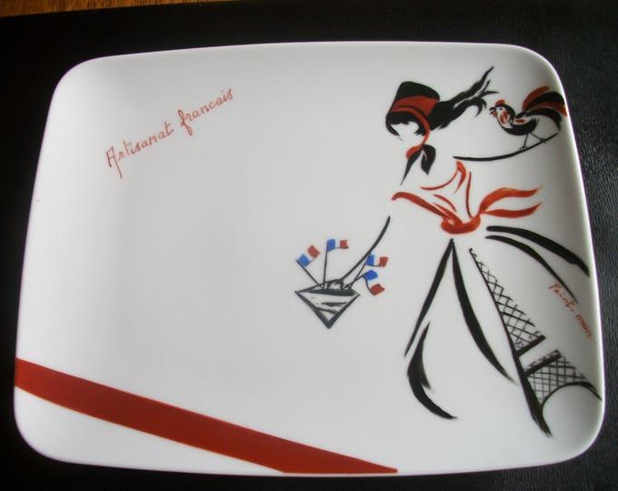 rectangular plate / french craft / handpainted on porcelain, handmade.