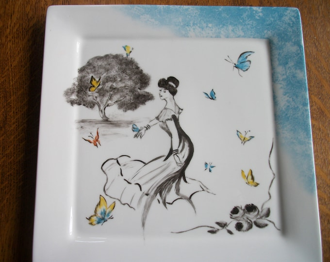 square tray /peint hand on porcelain /forme design / /motif / retro / art deco /romantique