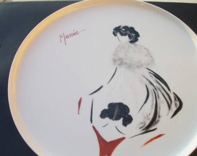 large tray/plate / pie /theme/ Grandma /peint hand on porcelain, handmade.