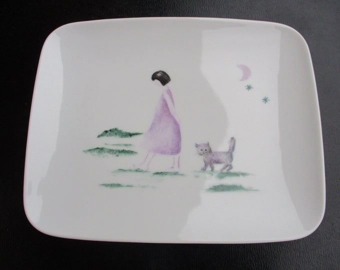 handmade/porcelain/poetic /peint plate