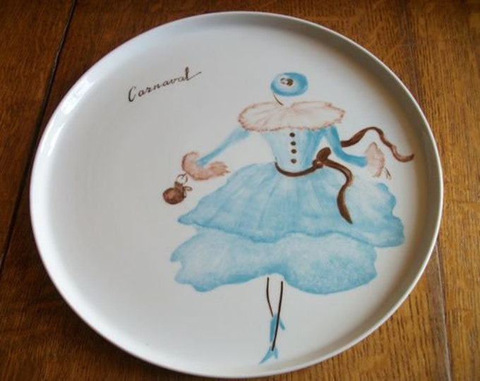 flat /plateau round/painted porcelain/handmade/Carnival