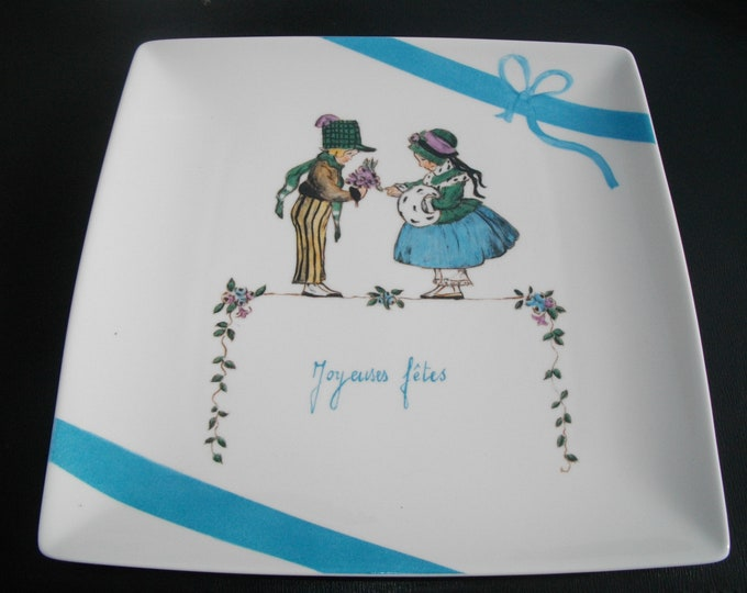 square plate / tray painted square/handmade/ceramic / scene children / holidays