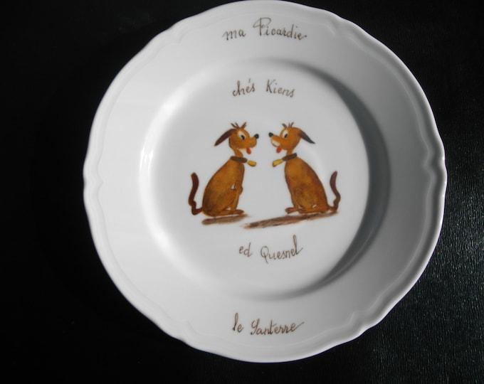 dessert plate handpainted porcelain / popular nickname/Crest / Le Quesnel / Santerre/dogs