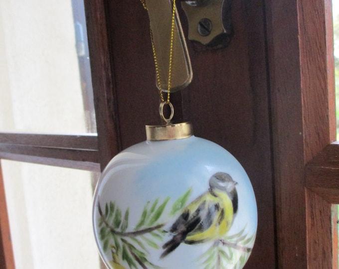 Christmas ball / painted porcelain/handmade/chickadee