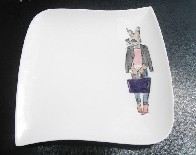 dessert plate / square / handpainted / porcelain / rabbit / funny