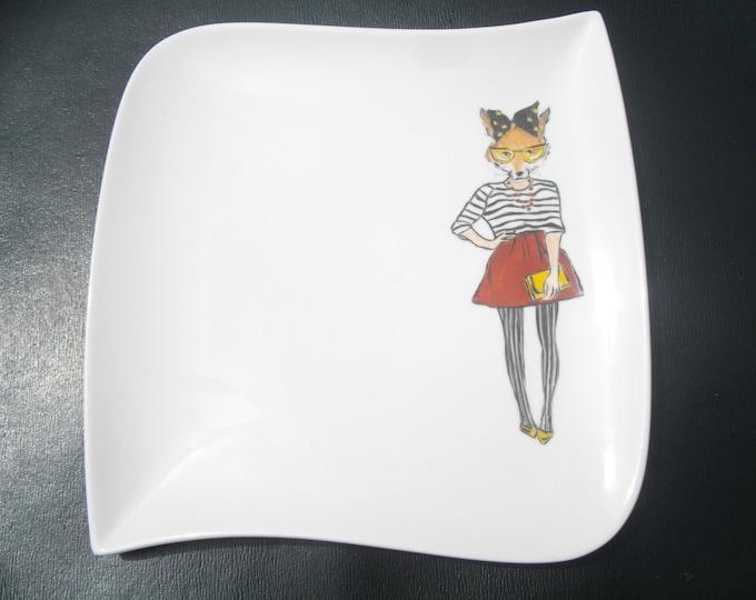 dessert plate / handpainted / ceramic / funny / Fox / design