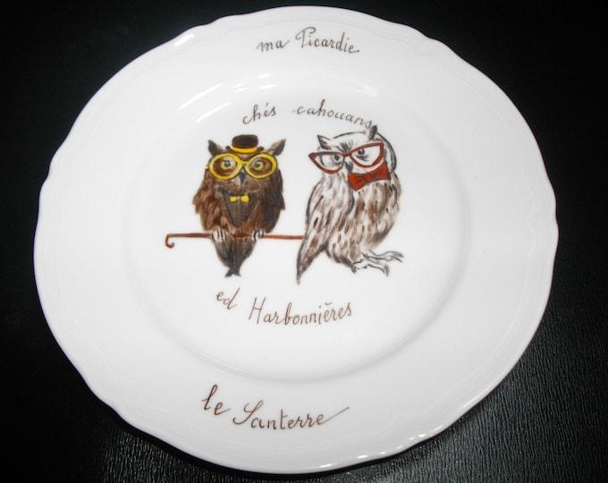dessert/funny/painted handmade/porcelain plate / hobgoblins/Harbonnières