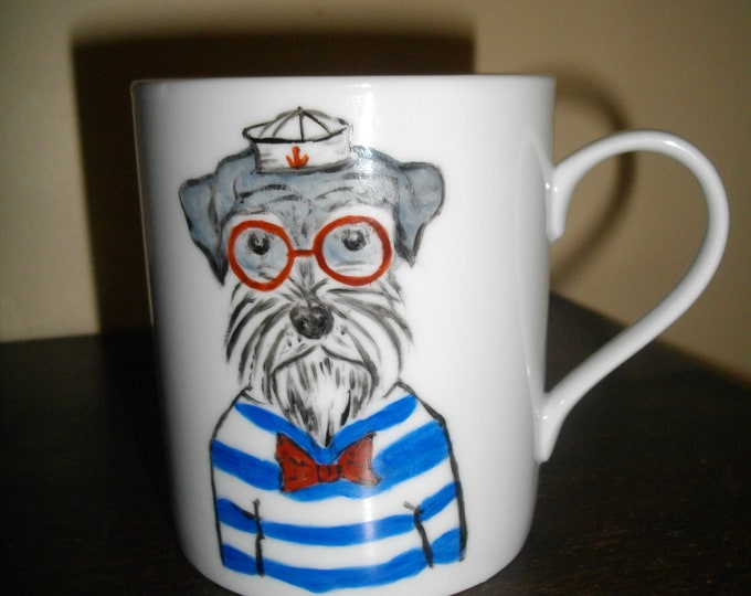 Mug/Cup/painted handmade/porcelain / dog/animals humanized