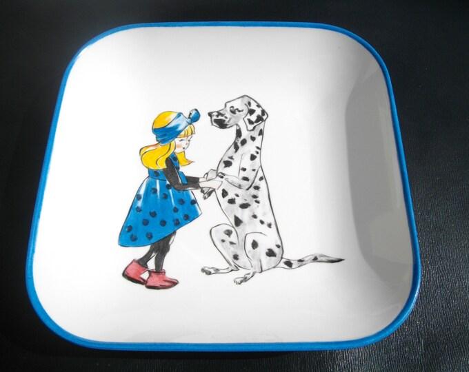 square ceramic plate handpainted on porcelain/little girl/dog