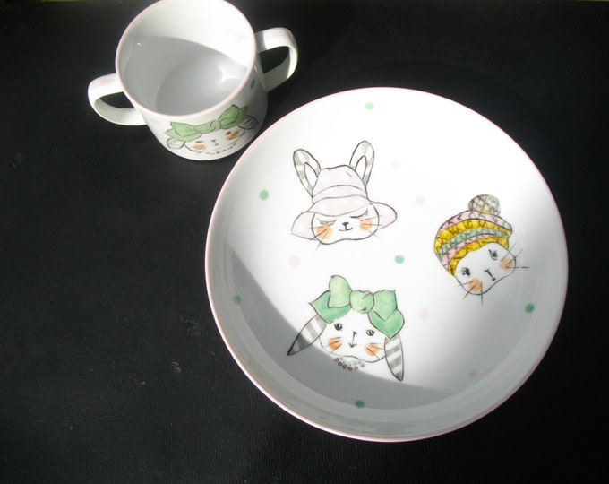 plate and Cup /petite girl porcelain hand painted / rabbits