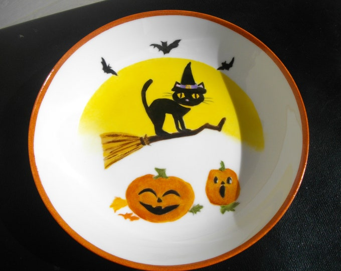 porcelain hand painted Halloween plate / child
