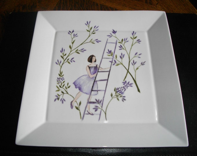 tray/design/painted square handmade/porcelain.